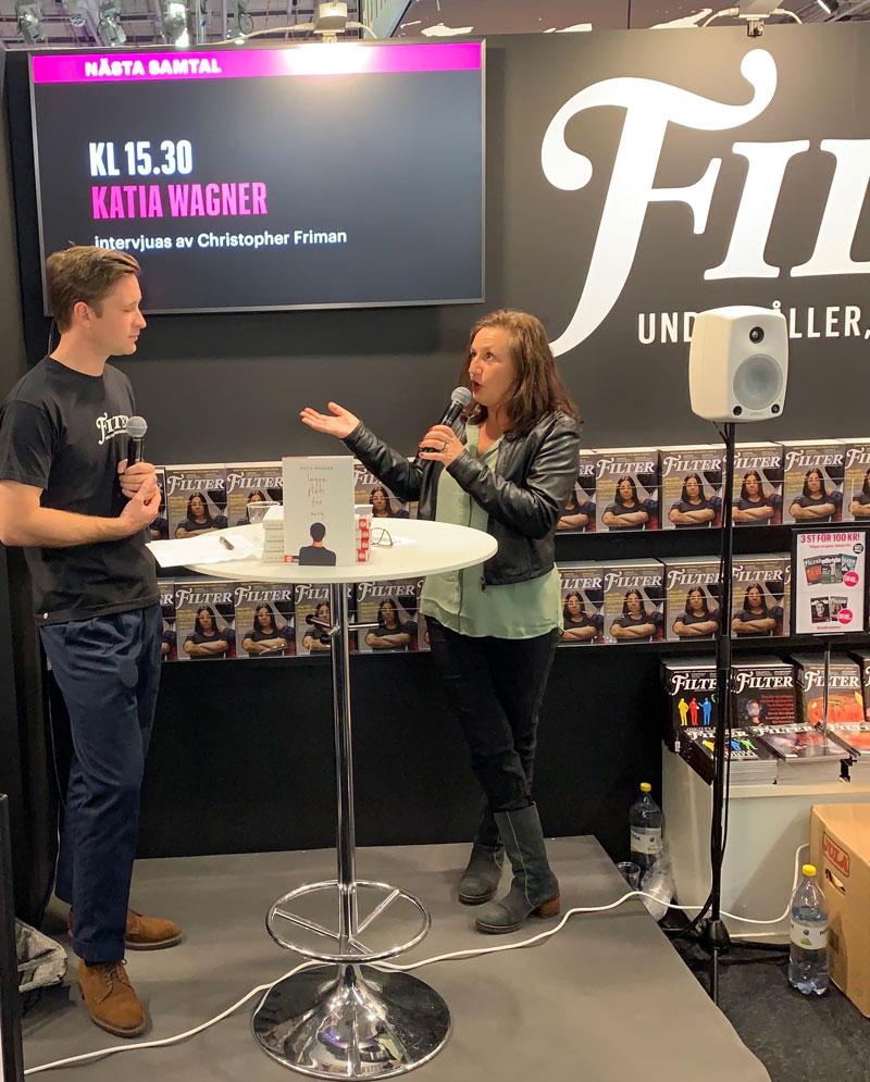 Samtal på bokmässan 2019 med chefredaktören Christopher Friman hos magasinet Filter. Foto: Mikael Bergstrand